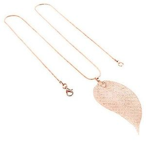 Jewelry - 3 Left!!  RG_ Rose Gold Leaf Necklace